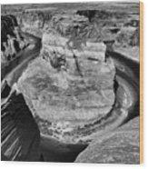 Black White Horseshoe Bend Arizona  Wood Print