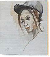Black Woman With A Hat Wood Print