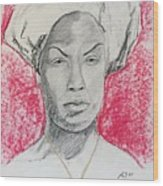 Black Woman With Red Background Wood Print