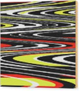 Black Yellow Red White Abstract Wood Print