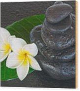 Black Zen Stones Wood Print