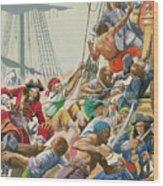 Blackbeard And His Pirates Attack Wood Print