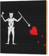 Blackbeard Pirate Flag Tee Wood Print