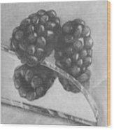 Blackberries On Glass Wood Print