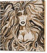 Blackmedusa-sepia Wood Print