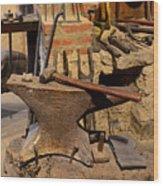 Blacksmith - Anvil And Hammer Wood Print