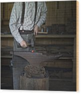 Blacksmith At Work Wood Print