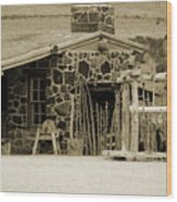 Blacksmith Shop 1867 Cove Creek Fort Utah Photograph In Sepia Wood Print