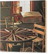 Blacksmith Shop Wheel Repair At Old World Wisconsin Wood Print