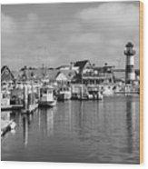 Black And White Oceanside California Marina  Wood Print