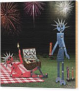 Blanche And Judy Celebrate The Fourth Wood Print
