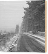 Blanchland Road In Winter, Slaley Woods Wood Print