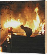 Blazing Fire Wood Print