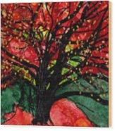 Blazing Red Orange Autumn Tree Wood Print