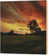 Blazing Skies Wood Print