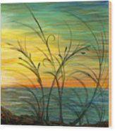 Blazing Sunrise And Grasses In Blue Wood Print