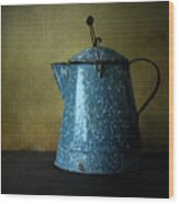 Blue Enamelware Coffee Pot Wood Print