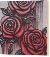 Bleeding Roses Wood Print