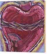 Bleeding Sacred Heart Wood Print