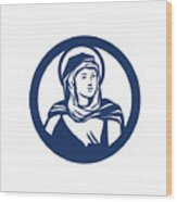 Blessed Virgin Mary Circle Retro Wood Print