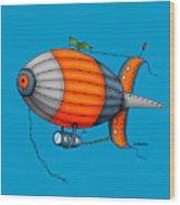 Blimp Orange Wood Print