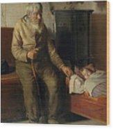 Blind Kristian Minding A Child Wood Print