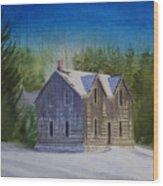 Blind River Homestead In Winter Wood Print