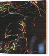 Blizzard Of Colorful Lights. Dancing Lights Series Wood Print