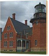 Block Island Light Wood Print