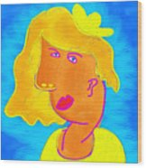 Blond Girl In A Yellow Hat Cubism Style Wood Print