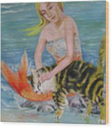 Blond Mermaid And Cat Wood Print