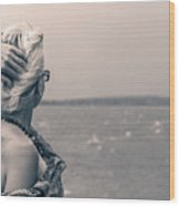 Blond Woman Looking To The Horizon. Wood Print