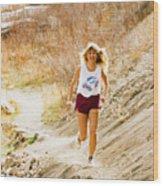 Blond Woman Trail Runner Wood Print