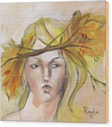 Blonde Autumn Forward Wood Print