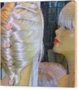 Blonde, Braids, Bangs And Beautiful Wood Print