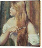 Blonde Girl Combing Her Hair Wood Print by Pierre Auguste Renoir