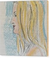 Blonde With Long Hair Wood Print