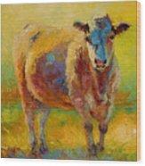 Blondie - Cow Wood Print by Marion Rose