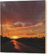 Blood And Gold In The Road Sunset At Portmahon Delaware Wood Print