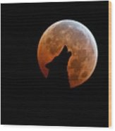 Blood Full Moon And The Wolf Wood Print