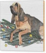 Blood Hound Christmas Wood Print