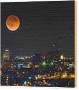 Blood Moon Over Downtown Wood Print