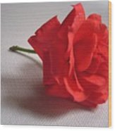 Blood Red Rose Wood Print