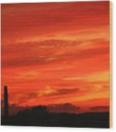 Blood-red Sky Wood Print