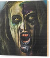 Bloody Zombie Nurse Screaming Out In Insanity Wood Print