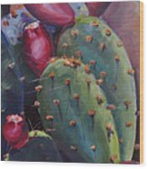 Blooming Cacti  Wood Print