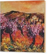 Blooming Cherry Trees Wood Print