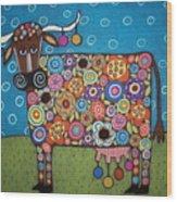 Blooming Cow Wood Print by Karla Gerard