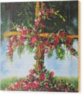 Blooming Cross Wood Print