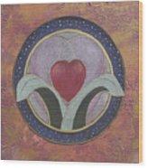 Blooming Heart Mandala Wood Print